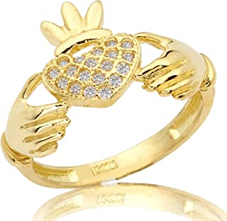 Mr. Bling 10K Yellow Gold Claddagh Heart Ring with 19 Cubic Zirconia (Sizes 5-9)