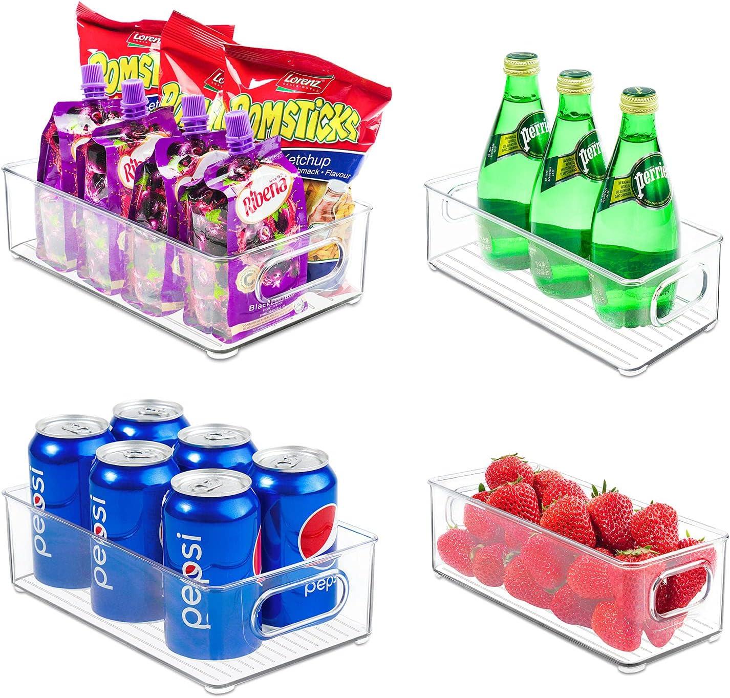 Refrigerator Organizer Bins, MEFASO Set of 4 Plastic Food Storage Bins(2 Large & 2 Small Drawers) with Handle for Fridge,Freezer,Kitchen,Garage, Cabinets,Pantry, BPA-Free