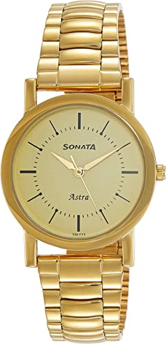 Sonata Analog Champagne Dial Men s Watch 77049YM01C