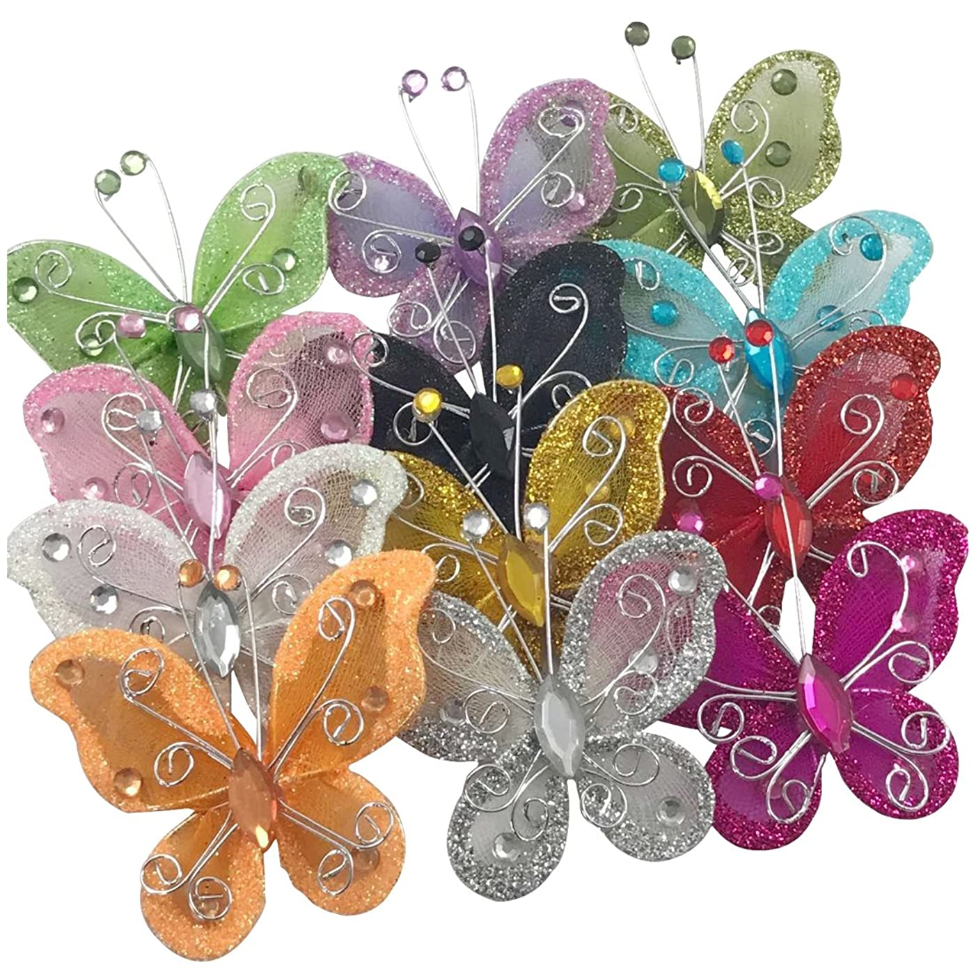 YAKA Organza Wire Butterfly Craft (Rhinestones & Shining Effect) Table Scatter Wedding Birthday Party Decorations (24PCS)