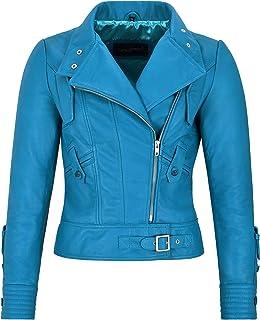 Ladies Women Supermodel Biker Jacket Electric Blue Light Soft Leather Leather 4110