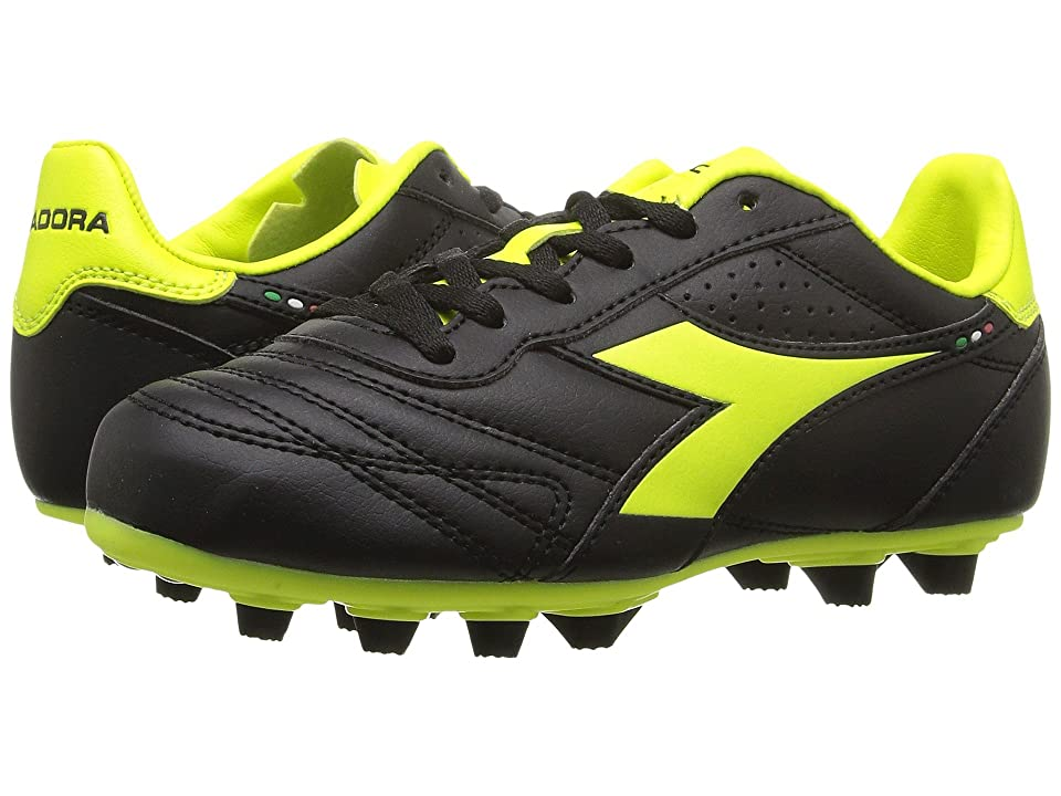 Diadora Kids Brasil R MD PU JR Soccer (Little Kid/Big Kid) (Black/Yellow Flourescent) Kids Shoes