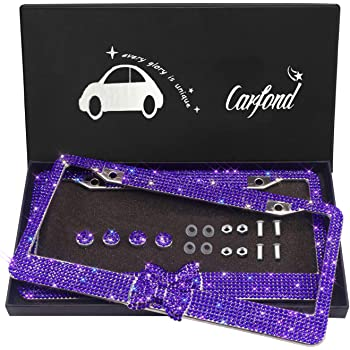 Handmade 8 Facets Rhinestones Stainless Steel License Plate Holder Cover with Screws Caps 2 Pack Red 4 Rows 2 Holes Otostar Bling Bling Car License Plate Frame