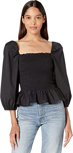 Cotton Puff Sleeve Smocked Bodice Top