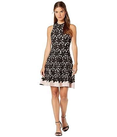 Milly Floral Mesh Jacquard Flow Dress (Mauve/Black) Women