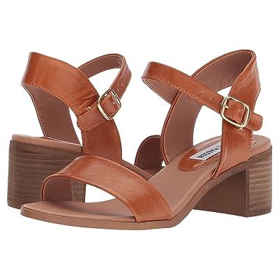 Steve Madden April Block Heel Sandal (Cognac Leather) Women