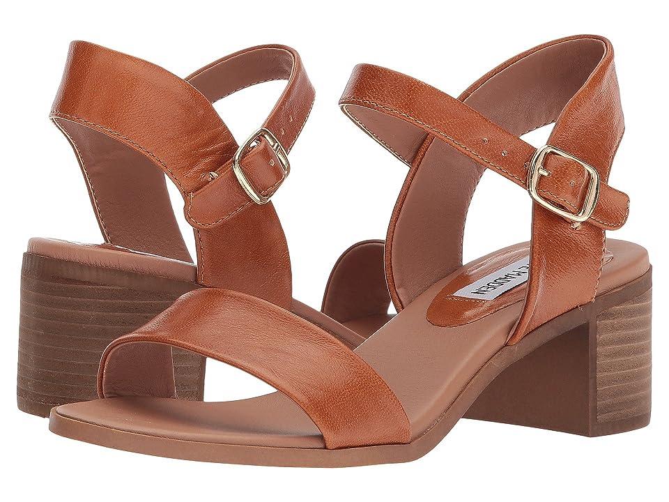 60s Shoes, Boots | 70s Shoes, Platforms, Boots Steve Madden April Block Heel Sandal Cognac Leather Womens Shoes $79.95 AT vintagedancer.com