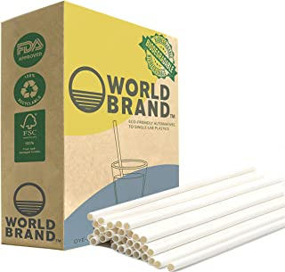 World Brand 250 Count White Paper Straws - Biodegradable Drinking Straws - Eco-Friendly Party Supplies - Plastic & Dye Free - Perfect for Juices, Shakes, Smoothies, Ice Coffee & More (White Standard)