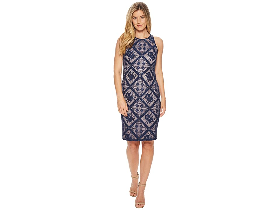 Adrianna Papell Floral Diamond Lace Cutaway Sheath (Navy Sateen) Women