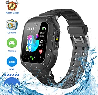 Jsbaby Kids Smartwatch Waterproof GPS/LBS Tracker Phone Compatible iOS Android for Children 3-12 Girls Boys SOS Call Remote Camera Two Way Call Touch Screen Games Christmas Birthday (Black)