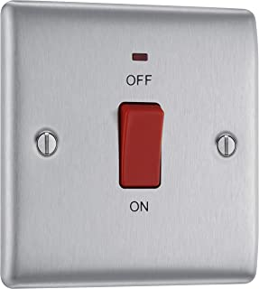 BG Electrical Switched Cooker Control Unit with a Power Indicator, 45 Amp, Brushed Steel