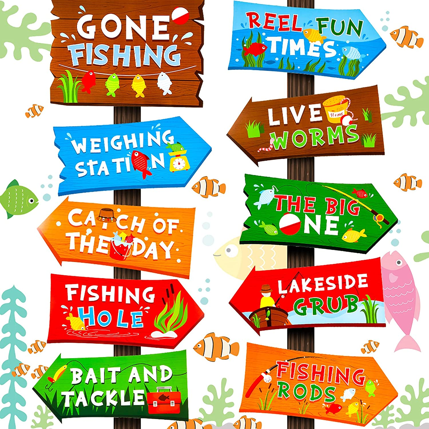 20 Pieces Gone Fishing Party Directional Signs The Big One Welcome Signs Backyard Door Cutouts Summer Birthday Baby Shower Party Favor Ideas Decoration Supplies