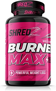 SHREDZ Burner MAX Fat Burner Supplement for Women, Maximum Strength, Burn Fat, Increase Gains, Improve Workout Results, Sh...
