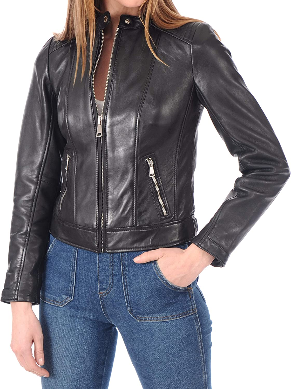 KAINAT Women's Motorcycle Bomber Biker Jacket H Max 59% OFF Max 83% OFF Leather Lambskin