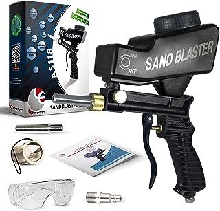 Lematec Pistola de boquilla de chorro de arena, pistola de chorro de arena alimentación de gravedad, arenadora portátil velocidad Blaster, Blaster de velocidad con punta Extra (negro)