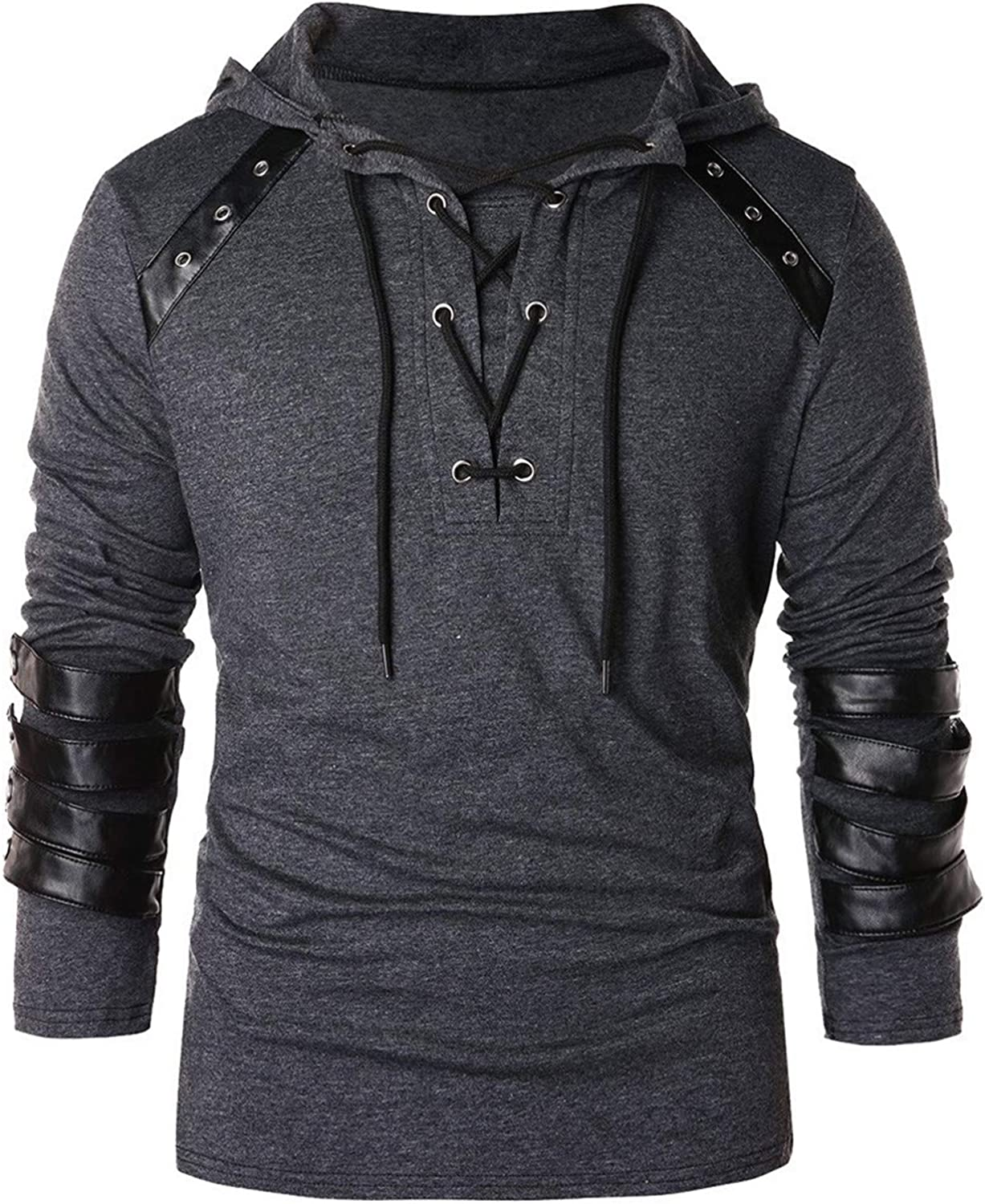 Men's Lightweight Lace Up V Neck Long Sleeve Blouse Tops Punk Hooded T-Shirt Vintage Leather Patchwork Tees