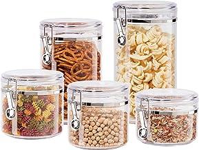 Oggi 5355 Juego de 5 recipientes de acrílico con tapas herméticas y cucharas acrílicas para almacenamiento de alimentos, Juego de 5 piezas, Blanco crudo, 1