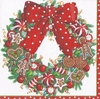 Caspari Entertaining with Candy Wreath Luncheon Napkin, Multi-Colour, Pack of 20, Paper, 16.5 x 16.5 x 3 cm