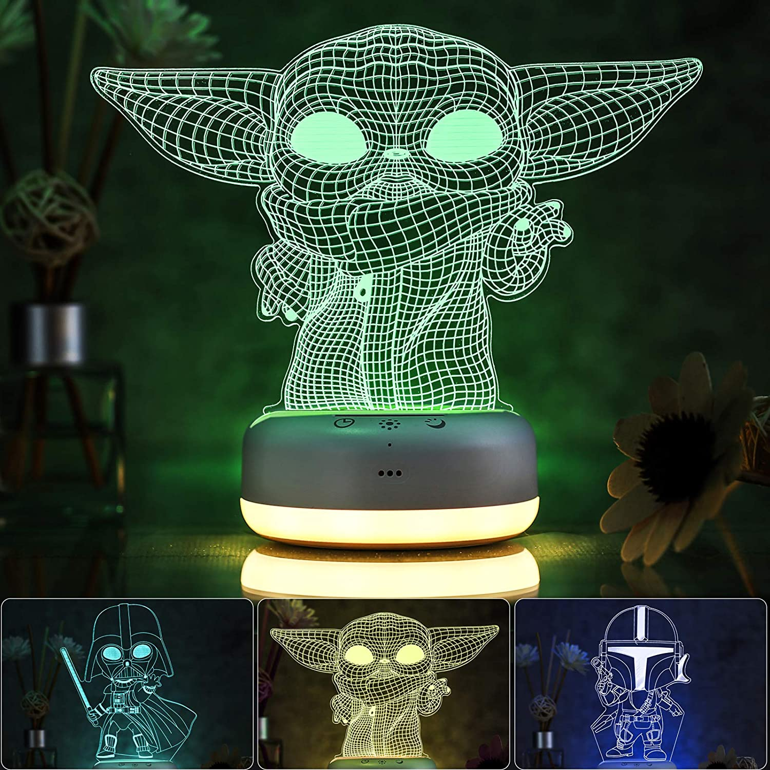 3D Star Wars Night Light for Kids - 3 Patterns and 16 Color Change Decor Lamp - Warm White Light for Sleep - Star Wars Toys for Kids - Birthday & Christmas Gifts for Boys Girls and Star Wars Fans