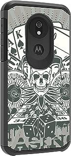 TurtleArmor | Compatible with Motorola Moto G7 Power Case | Moto G7 Supra Case | Slim Hybrid Hard Shell TPU Dual Layer Case Cool Designs - Joker Skull