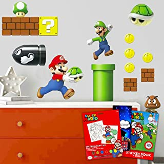 RoomMates Super Mario Room Decal Bundle ~ 50+ Pc Mario Wall Decal Set from RoomMates with Mario Coloring Set and More! (Ni...