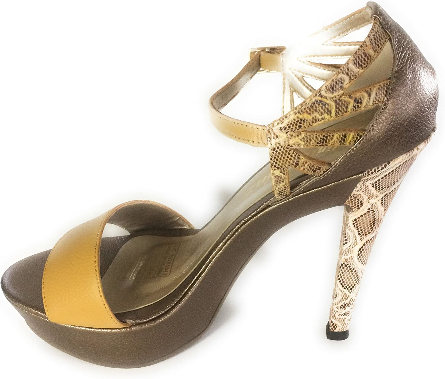 Silvia Diaz Fashion shoes Ankle Strap High Heels Mustard and Bronze