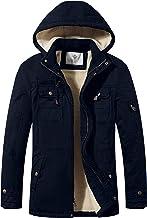 WenVen Men`s Cotton Winter Parka Jacket Casual Warm Coat with Removable Hood