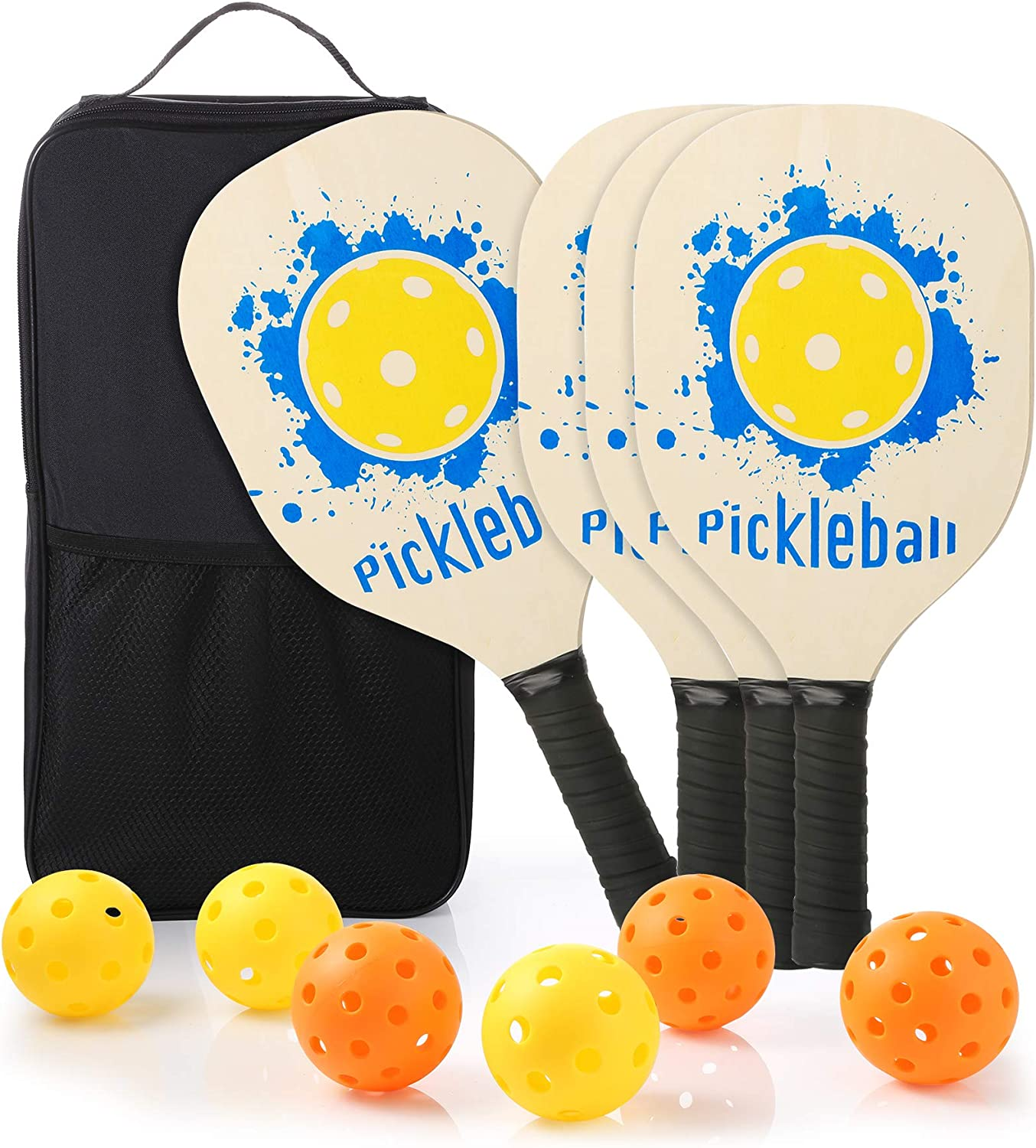 Ackitry 4 Wood Pickleball Paddles with 1 Carry Backpack and 3 In