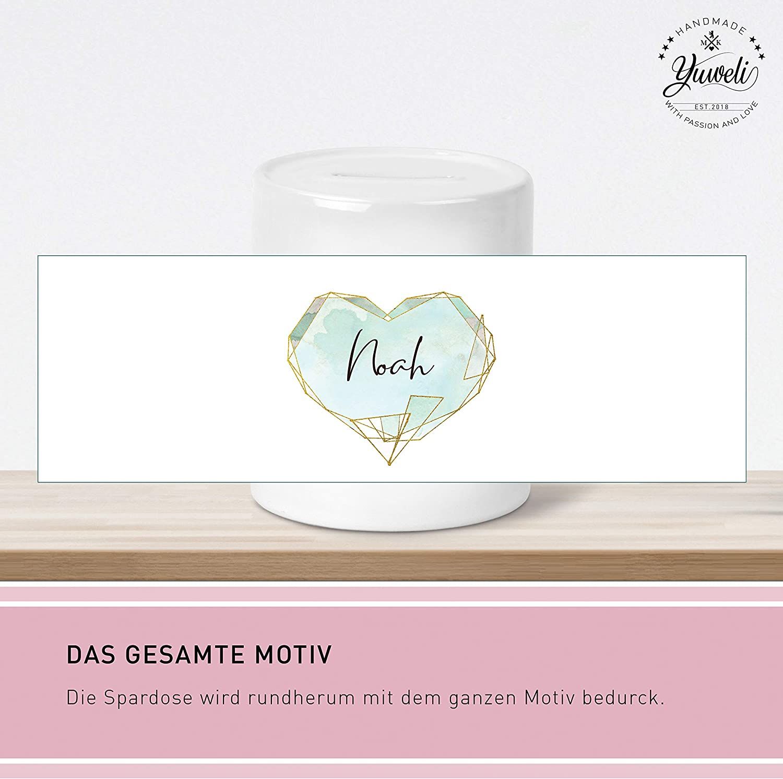 Rosa Yuweli Herz Kinder-Spardose f/ür Jungen und M/ädchen mit Namen personalisiert zur Einschulung Taufe Geburtstag Geburt Hochzeit