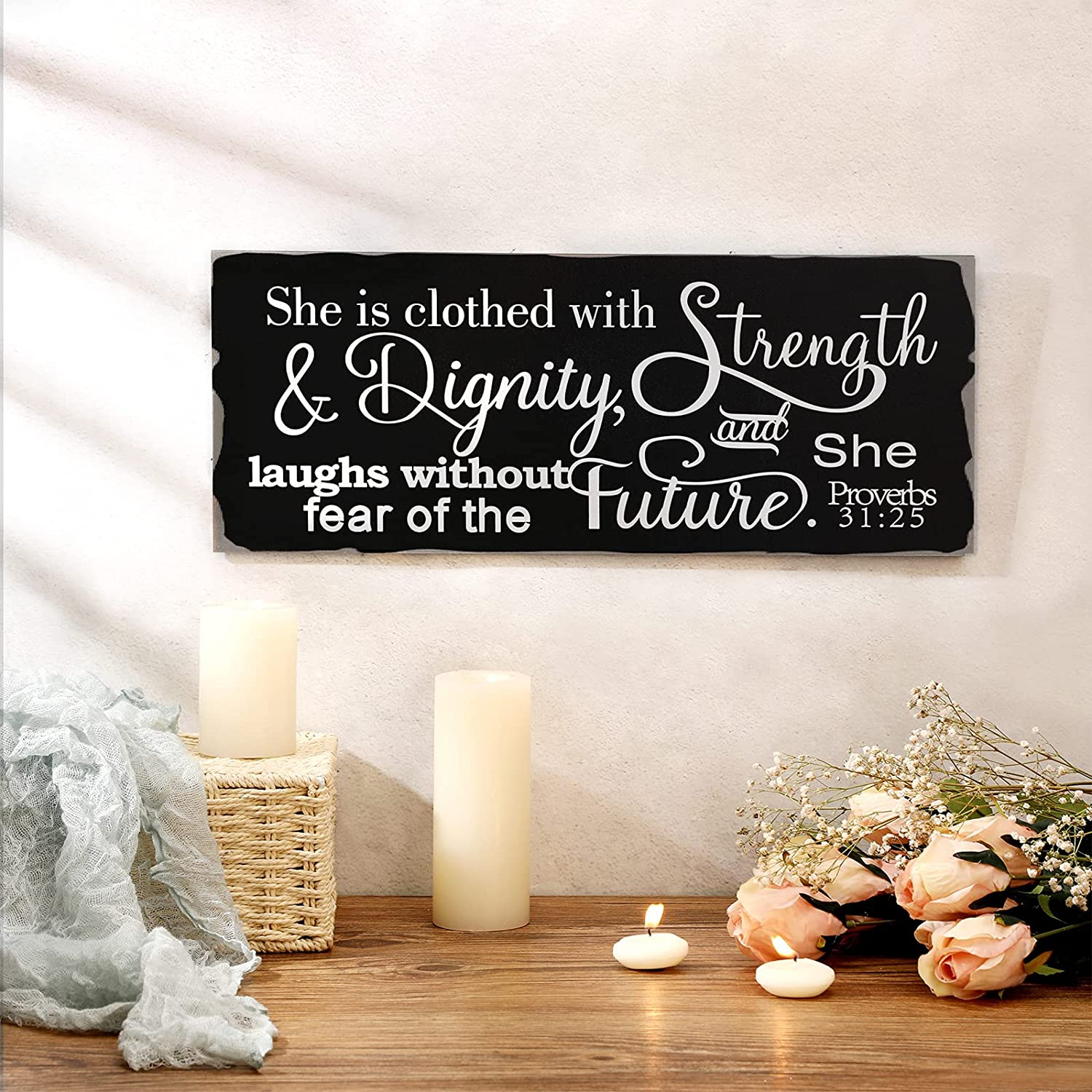 Jetec She is Clothed with Strength and Dignity and Laughs Without Fear of The Future Framed Wooden Hanging Sign Rustic Inspirational Quotes Proverbs 31:25 Wall Home Decor for Porch Gallery