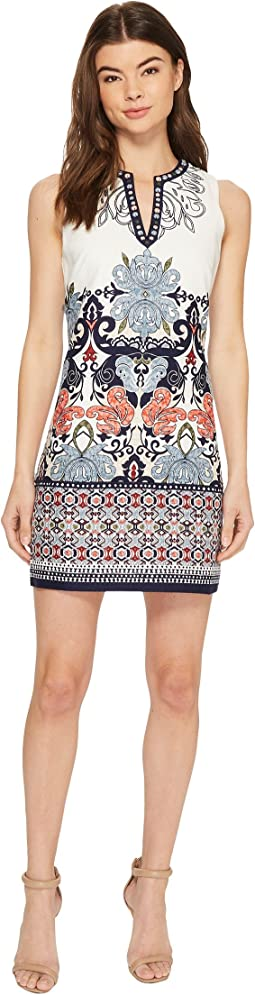 Printed Embroidered Sleeveless Shift Dress with Beaded Neckline