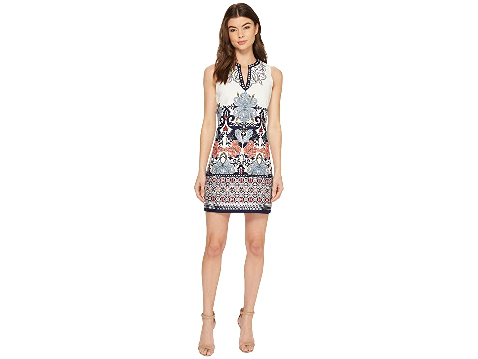 Laundry by Shelli Segal Printed Embroidered Sleeveless Shift Dress with Beaded Neckline (Midnight) Women
