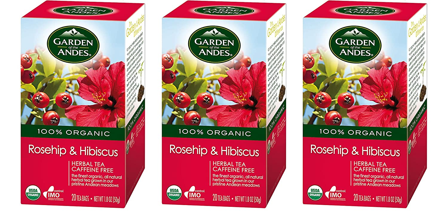 Garden of the Andes Herbal Organic Decaf Rosehip and Hibiscus Hot Tea Bags, 0.9 oz, 20 Count, (Pack of 3)