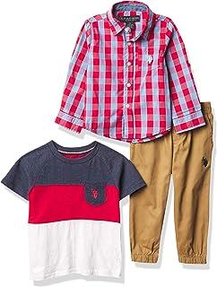 U.S. POLO ASSN. boys 3PC LS WVN/SS TEE/PANT SET Button Down Shirt