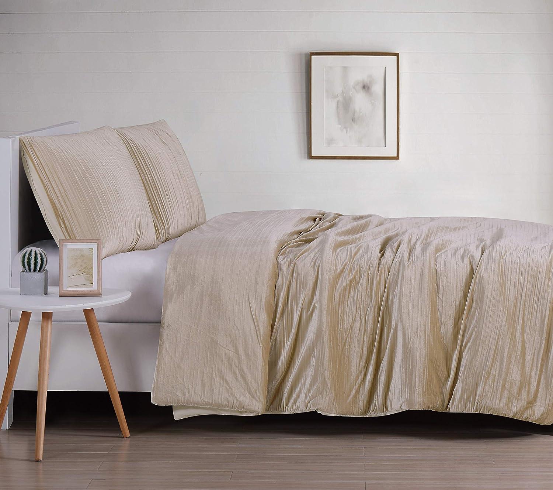 Christian Siriano Crinkle Luster Velvet Comforter Set, King, Champagne