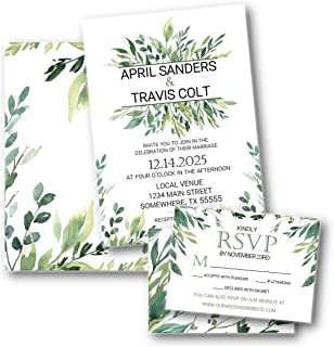 Greenery Foliage Botanical Wedding Invitation set with RSVP with envelopes
