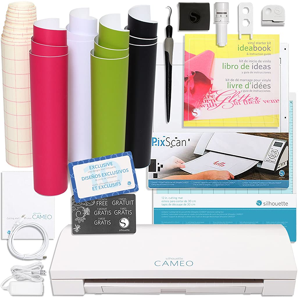 Silhouette America Silhouette Cameo 3 Touch Screen, Bluetooth, Vinyl Starter Kit with PixScan Cutting Mat