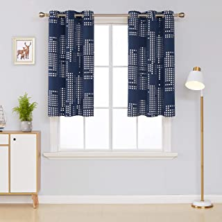 Deconovo Thermal Insulated Blackout Curtains for Bedroom Square Print Energy Efficient Draperies Grommet Window Panels for Living Room, 38x45 Inch, Navy Blue