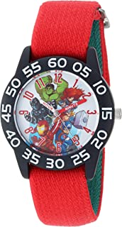 Marvel Boys Super Hero Analog-Quartz Watch with Nylon Strap, red, 16 (Model: WMA000287