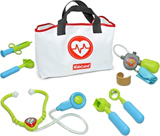 Kidzlane Play Doctor Kit for Toddlers and Kids - 7 Piece Dr Set with Medical Storage Bag and Electronic Stethoscope Ages 3+