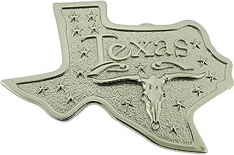 Texas Shaped Longhorn Cattle Belt BuckleLone Star State US Costume Silver Metal