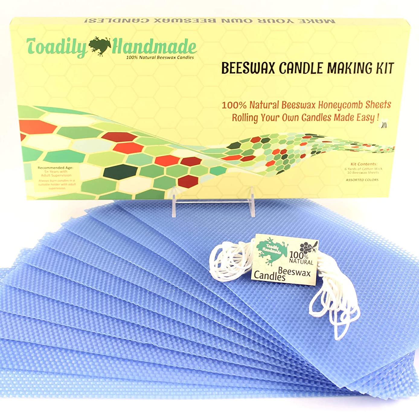 Make Your Own Beeswax Candle Kit - Includes 10 Full Size 100% Beeswax Honeycomb Sheets in Blue and Approx. 6 Yards (18 Feet) of Cotton Wick. Each Beeswax Sheet Measures Approx. 8