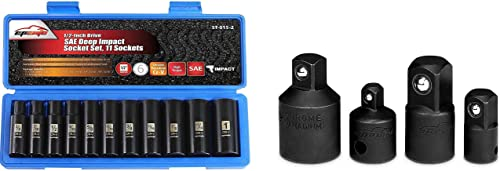 lowest EPAuto 1/2-Inch Drive SAE Deep Impact Socket Set, Cr-V, 6 Points, 11 Sockets + 4 Pieces Impact sale Socket Adapter and outlet online sale Reducer Set, Cr-V online sale