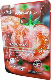 2 Mask sheets of Watsons Energising & Moisturising Lycopene Extract Facial Mask. Free from Parabens, Alcohol & Colourants. Bamboo Fabric Mask Sheet. Made in Korea. (30 Ml Essence/sheet)