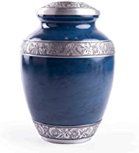 GSM Brands Cremation Urn for Adult Human Ashes - Large Handcrafted Funeral Memorial with Striking Blue Design (Aluminum - ...