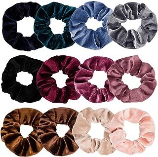 TOBATOBA 12 Pcs Hair Scrunchies Soft Velvet Elastics Scrunchy Bobbles Hair Bands Hair Ties Hair Accessories for Women,12 Assorted Colors
