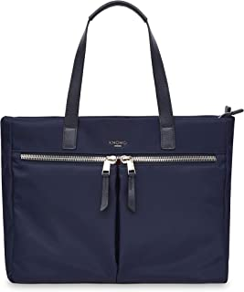 """Knomo Mayfair Blenheim, 14"""" Leather Tote, with Multiple Compartments, Device Protection, Suitcase Slip Pocket, RFID Pocket and KNOMO ID, Dark Navy"""