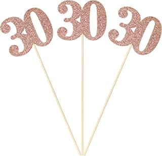 Set of 6 Number 30 Centerpiece Sticks Rose Gold Glitter 30th Birthday Table Centerpieces Flower Toppers Party Supplies