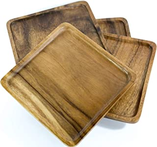 Kevin Home Square Acacia Wood Serving Plates, Dinnerware set of 4, Natural tableware dining for sandwiches, salad, finger foods, cheese, burgers, appetizers, or desserts (8 Inches)