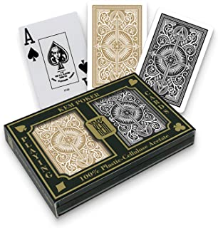 KEM Arrow Black and Gold, Poker Size-Jumbo Index Playing Cards (Pack of 2)